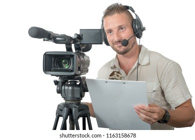 a man with professional camcorder isolated on white background