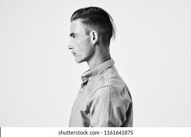 man in profile gray photo shirt