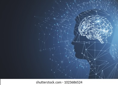Man profile silhouette with abstract polygonal brain on blue background. Artificial intelligence and mind concept. 3D Rendering