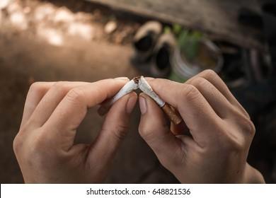 Man prohibit not to smoke, Concept stop smoking.
