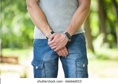 man with prostate problem in a park