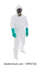 Man in  protective clothing and a gasmask on a white background