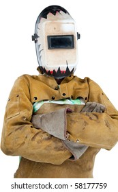 man in protective clothing for welding, helmet down