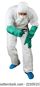 Man in protective suit searching isolated in white