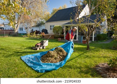 Man pulling tarp with grass and leaves