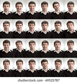 A man pulling a variety of silly faces. A composite of 24 different facial expressions.