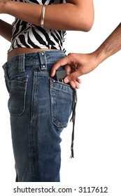 Man pulls mobile phone out of womans back pocket