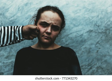 Man punch or beating up female. Sexual abuse of Couple or husband and wife or Thief or robber or Family and stranger attacking a scared woman. Sexual abuse is a problem or Social issues concept