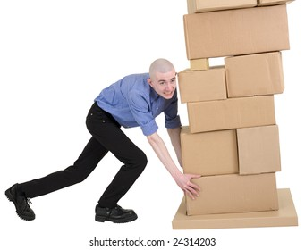 Man push pile from cardboard boxes on white