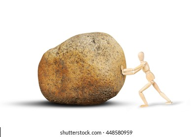 Man pushes a huge stone. Abstract image with a wooden puppet