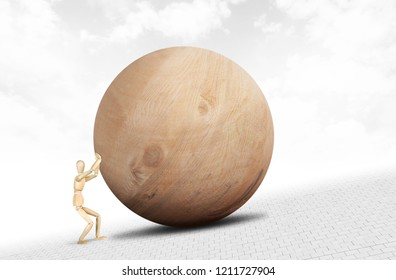 Man pushes a huge wooden ball upwards along the slope. Abstract image with a wooden puppet