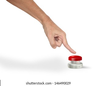 A man pushing a big red start stop alarm panic button with finger
