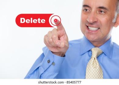 Man pushing the delete button