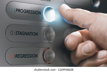 Man pushing an elevator button where it is written he words progression, stagnation and regression. Successful life choice, career advancement concept. Composite image between hand photography and 3D