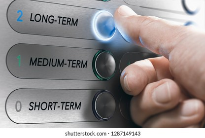 Man pushing an elevator buttons where it is written long term. Investment Concept. Composite image between a hand photography and a 3D background.