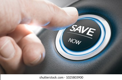 Man pushing a start button with the text save now. Concept of car offers or discount. Composite image between a finger photography and a 3D background.