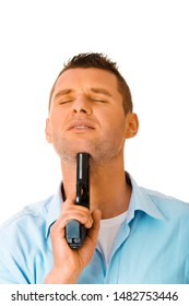 Man puting gun to his chin, on white background. Suicide concept. Emocional problems.
