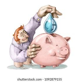 man puts a drop of pure water in a piggy bank