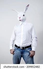 Man with rabbit mask