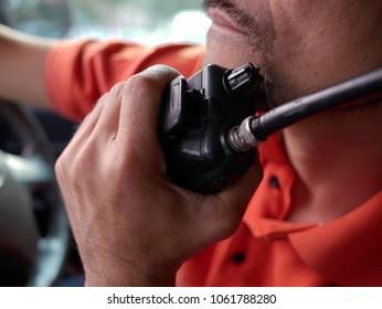 man with radio communication.