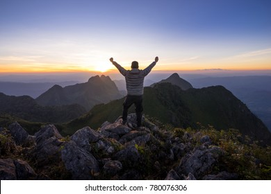 Man reaches the peak of Doi Luang Chiang Dao, The third highest mountain in, Thailand