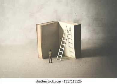 man reaching higher knowledge level, climbing a book, surreal concept