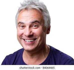 Man reacting and smiling at the camera