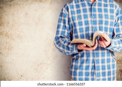Man Reading bible Book