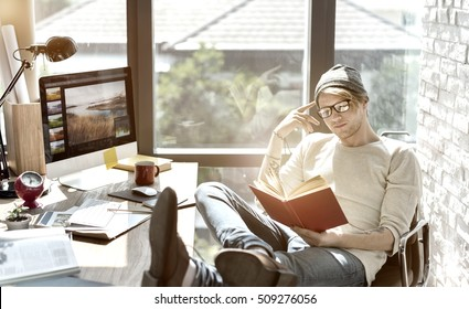 Man Reading Book Knowledge Relax Concept