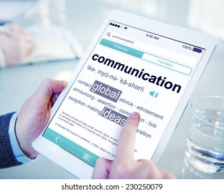 Man Reading the Definition of Communication
