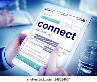 Man Reading the Definition of Connect