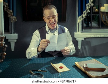 Man reading a letter with good news