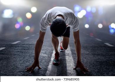 Man ready to run