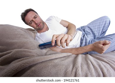 man receiving text messages before going to bed