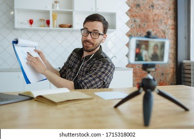 Man recording online course from home. Self-isolation