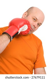 man with red boxing gloves on a white background