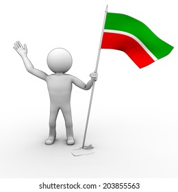 Man with red and green flag