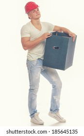 Man in red helmet holding a box over a white background