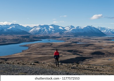 Man in red jacket looking at view of mountains near Lake Tekapo