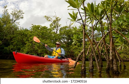 man in a red kayak through the mangroves in a tropical destination
