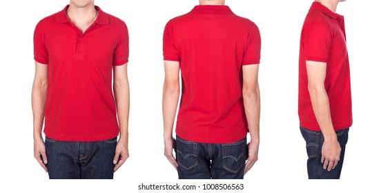 man with red polo shirt on a white background