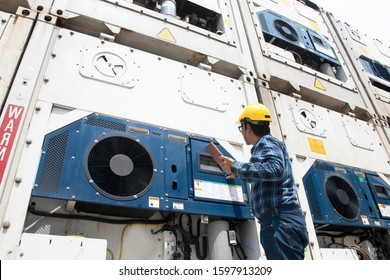 Man reefer container technician is keep monitoring temperature frozen cargo a the port.