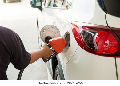 Man Refill and filling Oil Gas Fuel at station.Gas station - refueling.To fill the machine with fuel. Car fill with gasoline at a gas station. Gas station pump.