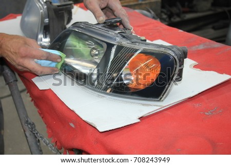 Man Refurbishing Car Headlight Clear Coating Stock Photo Edit Now