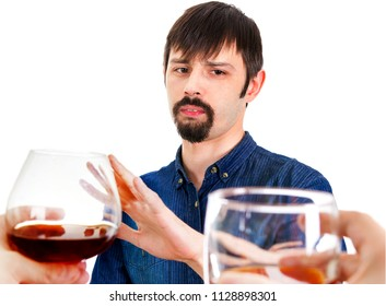 Man refuse an Alcohol on the White Background