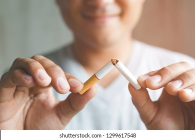 Man refusing cigarettes concept for quitting smoking and healthy lifestyle.or No smoking campaign Concept.