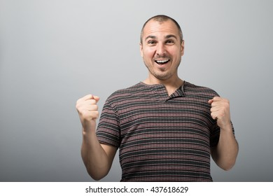 man rejoices victory