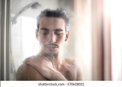 Man relaxing in the shower