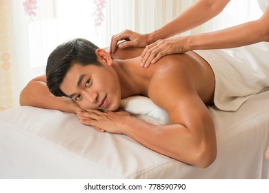 A man relaxing at the spa, beauty treatment concept