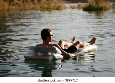 man relaxing in the water